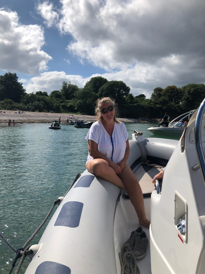 Sally Free on the boat at 60